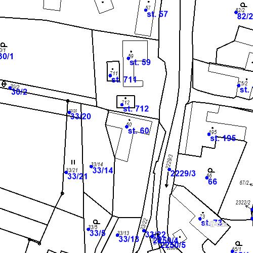 Katastrální mapa Parcela 60 na katastrálním území Pozlovice