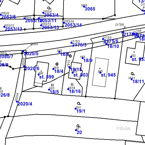 Katastrální mapa Parcela 903 na katastrálním území Pozlovice