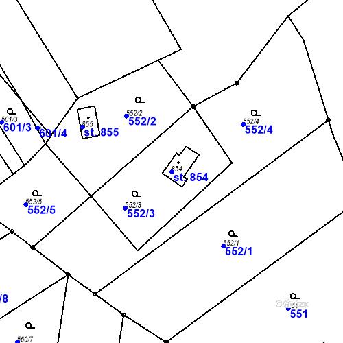 Katastrální mapa Parcela 854 na katastrálním území Luhačovice