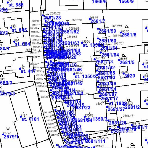 Katastrální mapa Parcela 1350/2 na katastrálním území Luhačovice