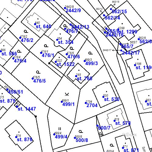 Katastrální mapa Parcela 765 na katastrálním území Luhačovice