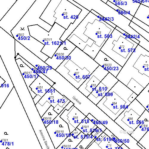 Katastrální mapa Parcela 607 na katastrálním území Luhačovice