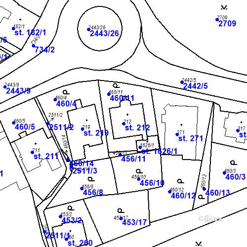 Katastrální mapa Parcela 212 na katastrálním území Luhačovice