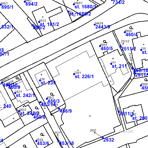 Katastrální mapa Parcela 226/1 na katastrálním území Luhačovice