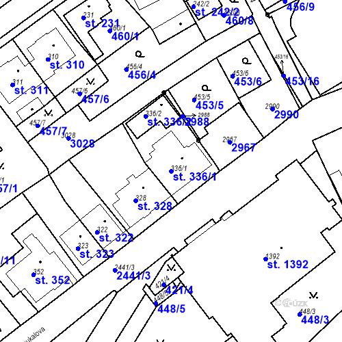 Katastrální mapa Parcela 336/1 na katastrálním území Luhačovice