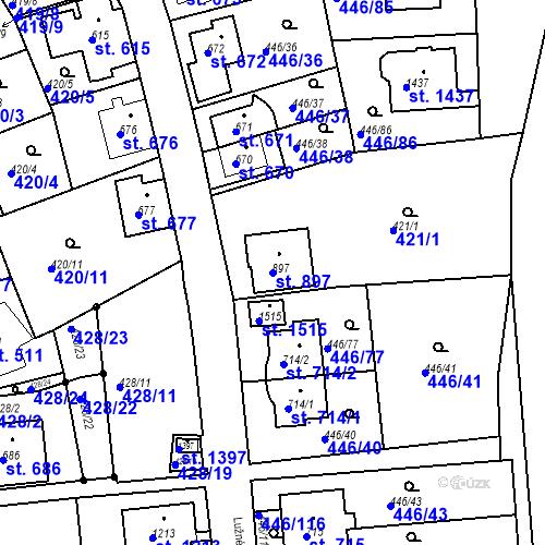 Katastrální mapa Parcela 897 na katastrálním území Luhačovice