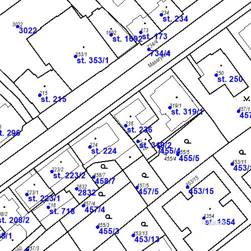 Katastrální mapa Parcela 236 na katastrálním území Luhačovice