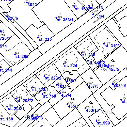 Katastrální mapa Parcela 224 na katastrálním území Luhačovice