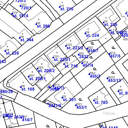 Katastrální mapa Parcela 718 na katastrálním území Luhačovice