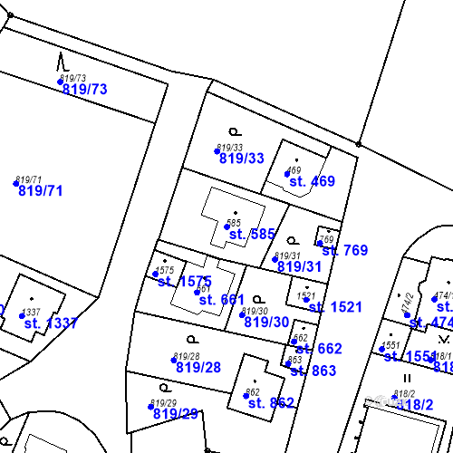 Katastrální mapa Parcela 585 na katastrálním území Luhačovice