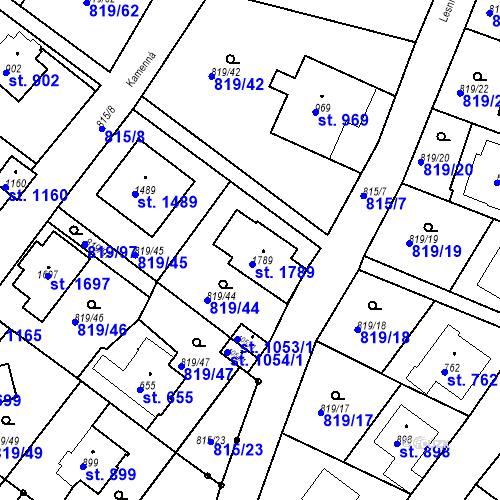 Katastrální mapa Parcela 598 na katastrálním území Luhačovice