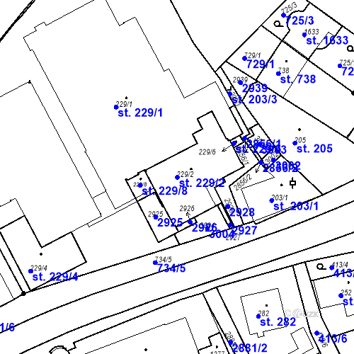 Katastrální mapa Parcela 229/2 na katastrálním území Luhačovice