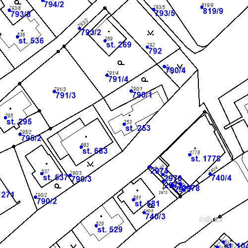 Katastrální mapa Parcela 253 na katastrálním území Luhačovice