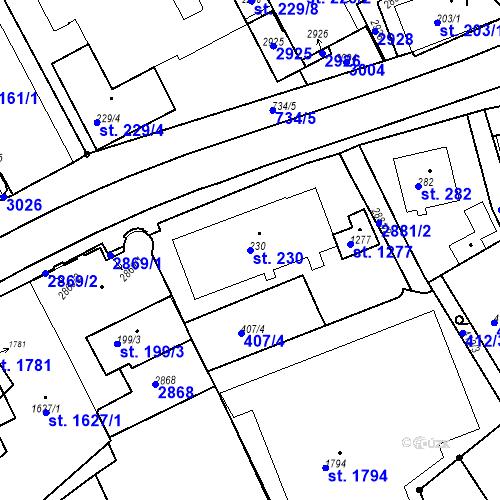 Katastrální mapa Parcela 230 na katastrálním území Luhačovice