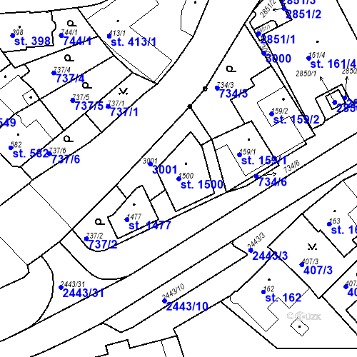 Katastrální mapa Parcela 1500 na katastrálním území Luhačovice