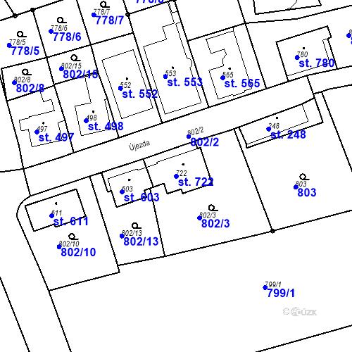 Katastrální mapa Parcela 722 na katastrálním území Luhačovice