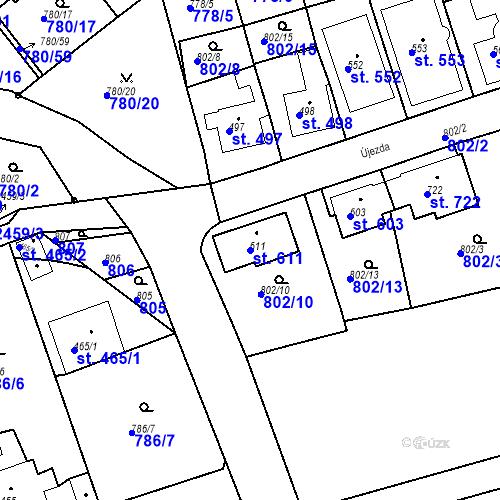 Katastrální mapa Parcela 611 na katastrálním území Luhačovice