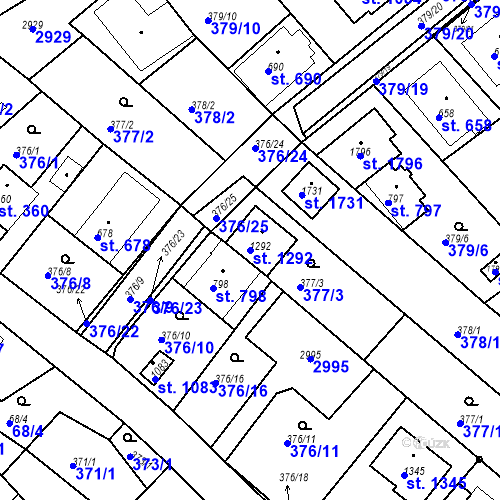 Katastrální mapa Parcela 1292 na katastrálním území Luhačovice
