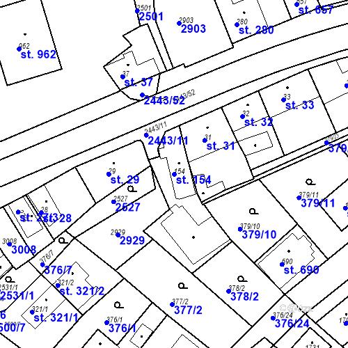 Katastrální mapa Parcela 154 na katastrálním území Luhačovice
