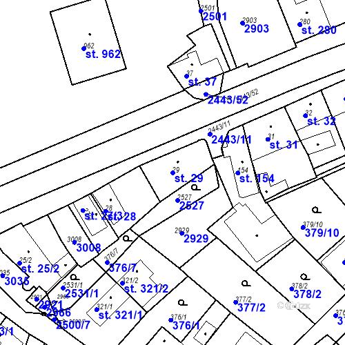 Katastrální mapa Parcela 29 na katastrálním území Luhačovice