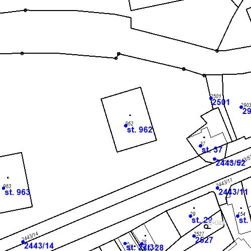 Katastrální mapa Parcela 962 na katastrálním území Luhačovice