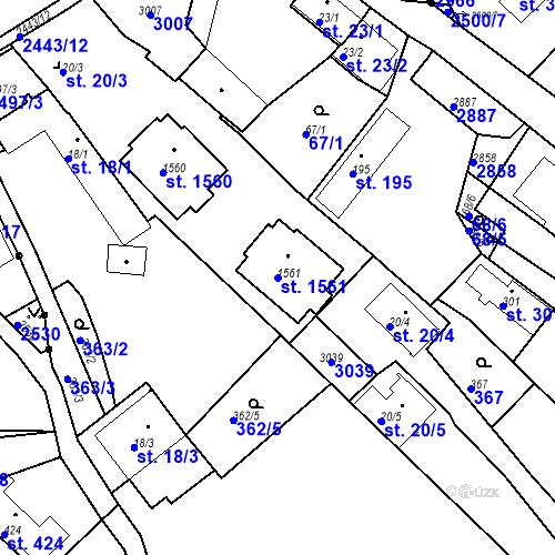Katastrální mapa Parcela 1561 na katastrálním území Luhačovice