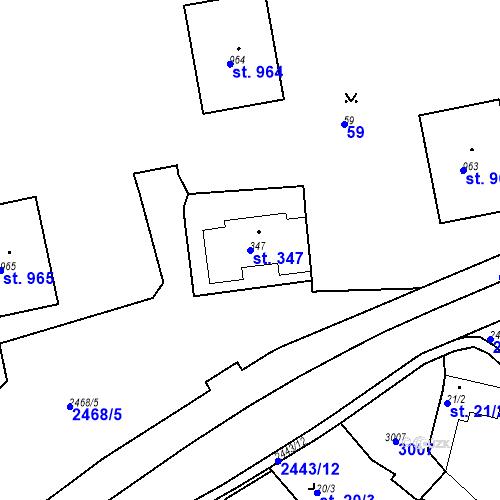 Katastrální mapa Parcela 347 na katastrálním území Luhačovice