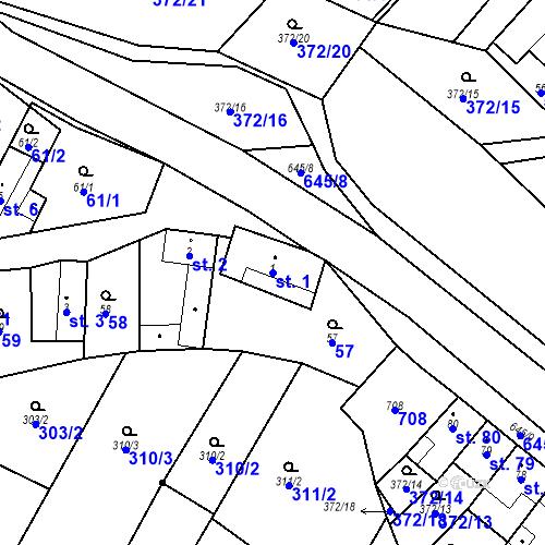 Katastrální mapa Parcela 1 na katastrálním území Chvalčova Lhota
