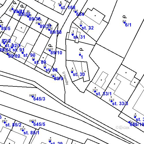 Katastrální mapa Parcela 30 na katastrálním území Chvalčova Lhota
