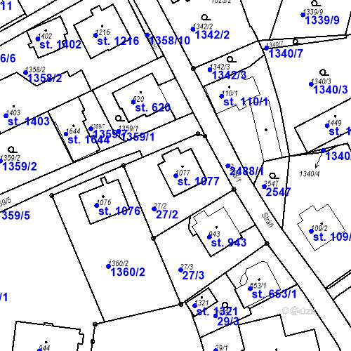 Katastrální mapa Parcela 1077 na katastrálním území Luhačovice