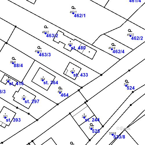 Katastrální mapa Parcela 433 na katastrálním území Žeranovice
