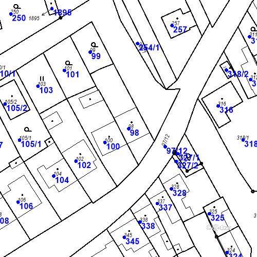 Katastrální mapa Parcela 98 na katastrálním území Havřice