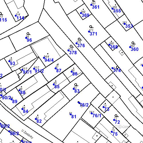 Katastrální mapa Parcela 86 na katastrálním území Havřice