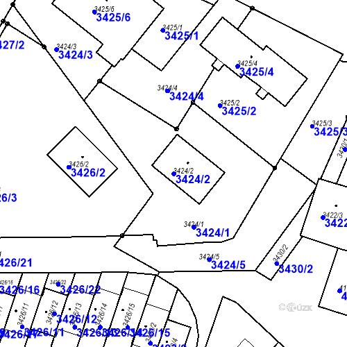 Katastrální mapa Parcela 3424/2 na katastrálním území Bruntál-město