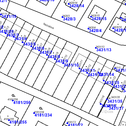 Katastrální mapa Parcela 3431/10 na katastrálním území Bruntál-město