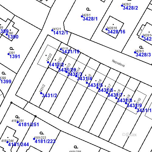 Katastrální mapa Parcela 3431/4 na katastrálním území Bruntál-město