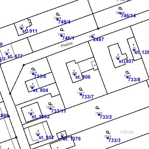 Katastrální mapa Parcela 806 na katastrálním území Tlumačov na Moravě