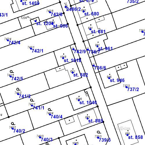 Katastrální mapa Parcela 682 na katastrálním území Tlumačov na Moravě