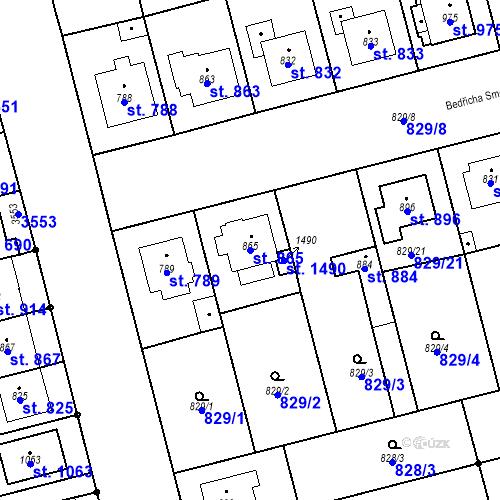 Katastrální mapa Parcela 865 na katastrálním území Tlumačov na Moravě