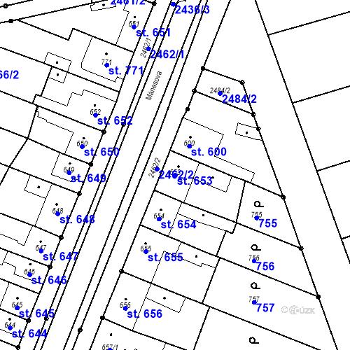 Katastrální mapa Parcela 653 na katastrálním území Tlumačov na Moravě