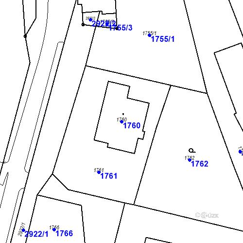 Katastrální mapa Parcela 1760 na katastrálním území Hlubočky