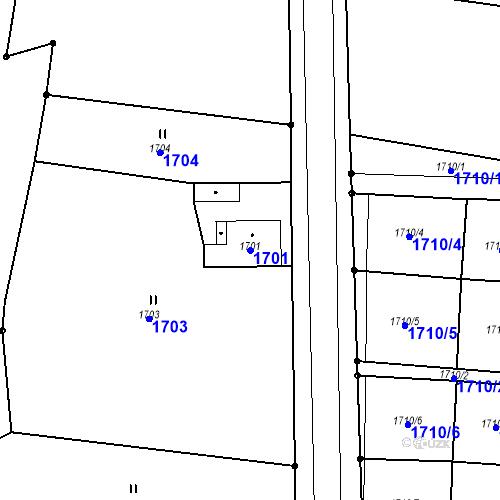 Katastrální mapa Parcela 1701 na katastrálním území Hlubočky
