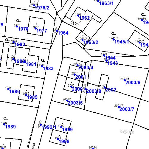 Katastrální mapa Parcela 2001 na katastrálním území Hlubočky