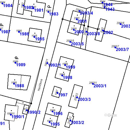 Katastrální mapa Parcela 1999 na katastrálním území Hlubočky
