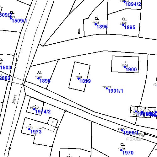 Katastrální mapa Parcela 1899 na katastrálním území Hlubočky