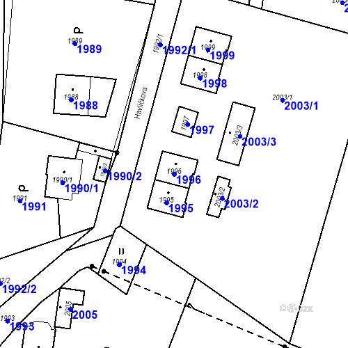 Katastrální mapa Parcela 1996 na katastrálním území Hlubočky