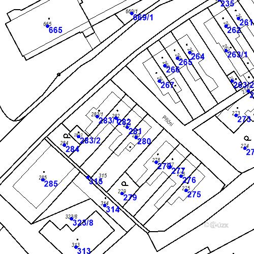 Katastrální mapa Parcela 281 na katastrálním území Hlubočky
