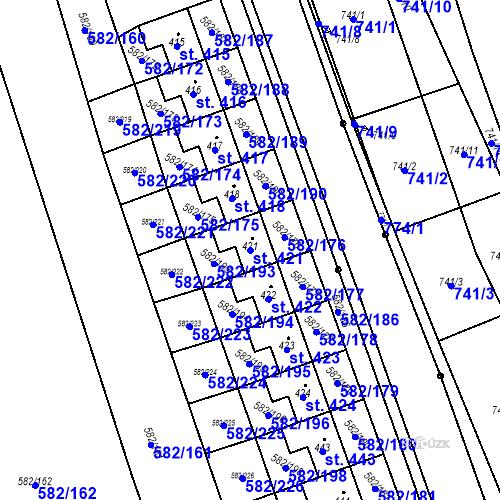 Katastrální mapa Parcela 421 na katastrálním území Přáslavice u Olomouce