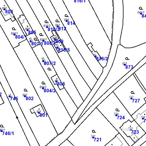 Katastrální mapa Parcela 810/4 na katastrálním území Droždín