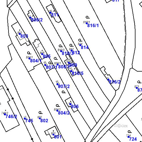 Katastrální mapa Parcela 810/5 na katastrálním území Droždín